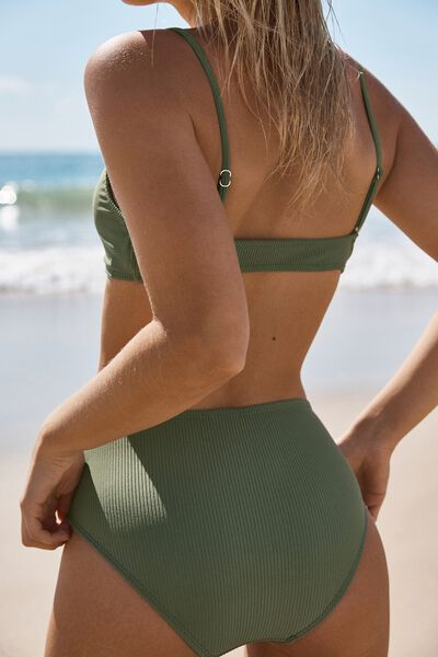 Highwaisted Full Bikini Bottom, COOL AVOCADO RIB
