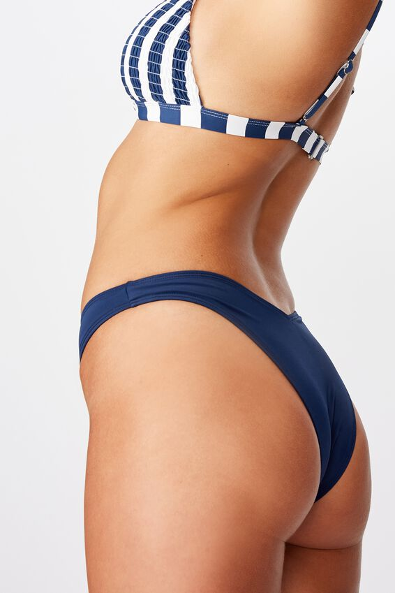 Renewed High Side Brazilian Bikini Bottom, NAVY