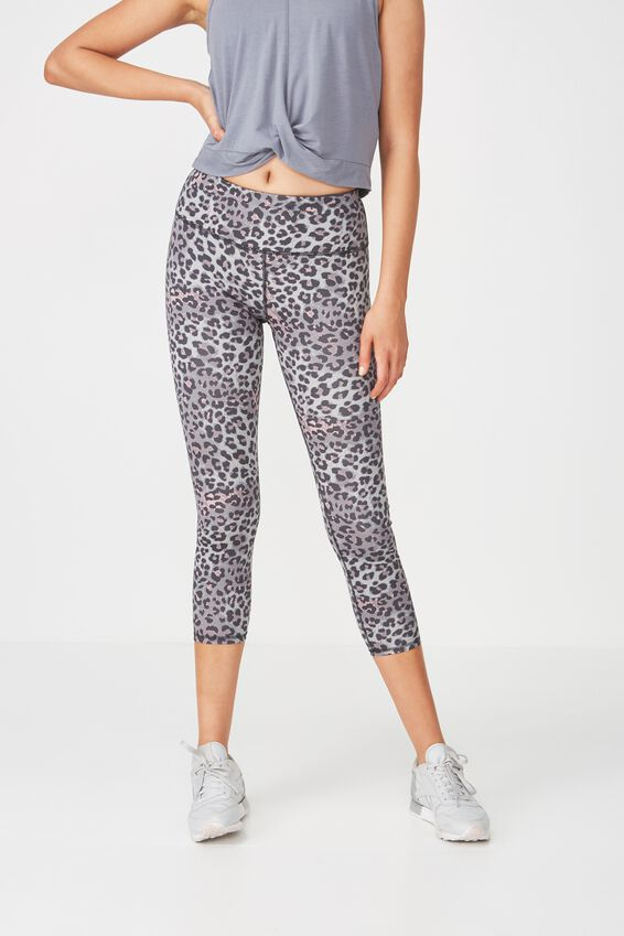 Recycled Highwaisted Yoga 7/8 Tight, LOVELY LEOPARD THISTLE