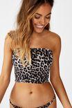 Shirred Longline Bandeau Bikini Top, ANIMAL SHIRRED