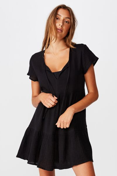 Babydoll Beach Dress, BLACK