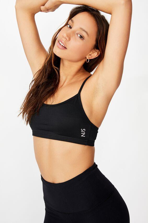 Personalised Workout Yoga Crop, BLACK