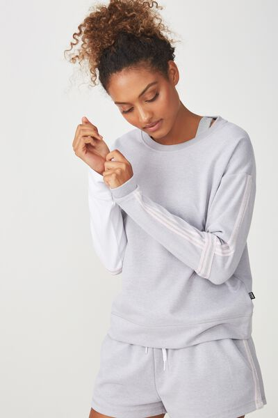 Long Sleeve Terry Crew Top, GREY MARLE / WHITE