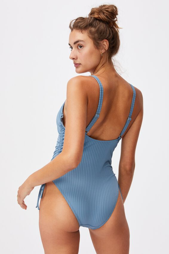 Scoop Neck Side Tie One Piece Full Rib, BLUESTONE RIB