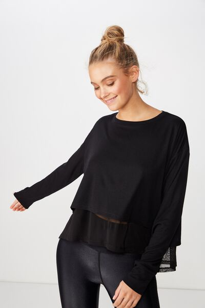 Layered Long Sleeve Top, BLACK