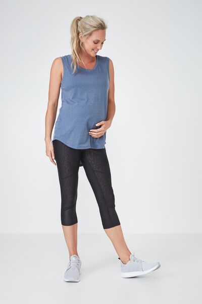 Maternity Active Scoop Neck Tank, STEEL BLUE MARLE