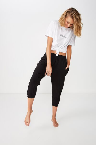 Jersey Cropped Cuffed Pant, BLACK