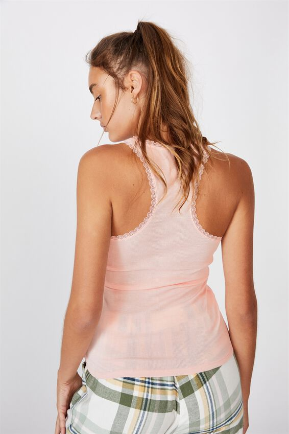 Lace Racer Back Tank, CAMEO PINK MARLE
