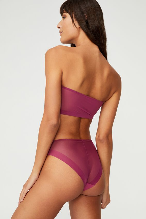 Invisible Mesh Bandeau With Cups, RASPBERRY ORCHID
