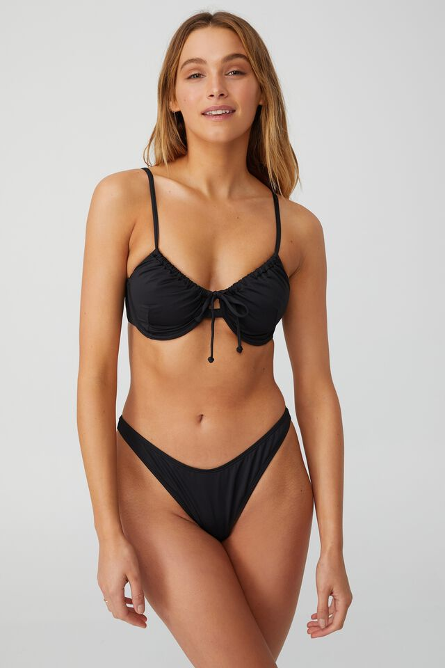 Half Wire Bra Bikini Top, BLACK