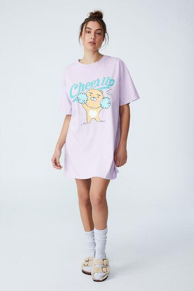 Organic Cotton 90S T-Shirt Nightie, LCN KAKAO RYAN CHEER UP SOFT GRAPE WASH