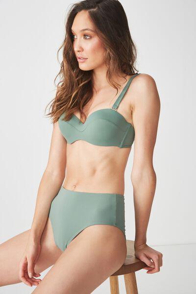 Highwaisted Full Bikini Bottom, FERN GREEN MATTE