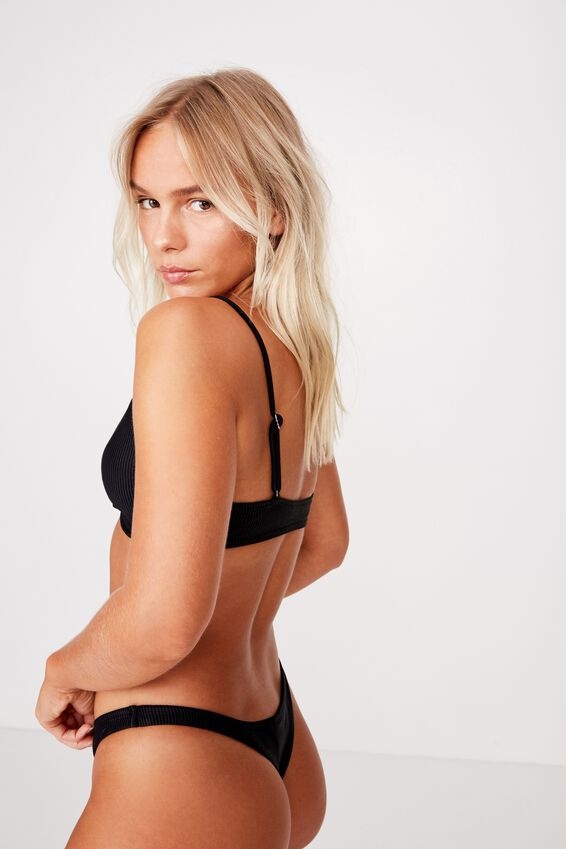 Knot Front Bralette Bikini Top, BLACK RIB