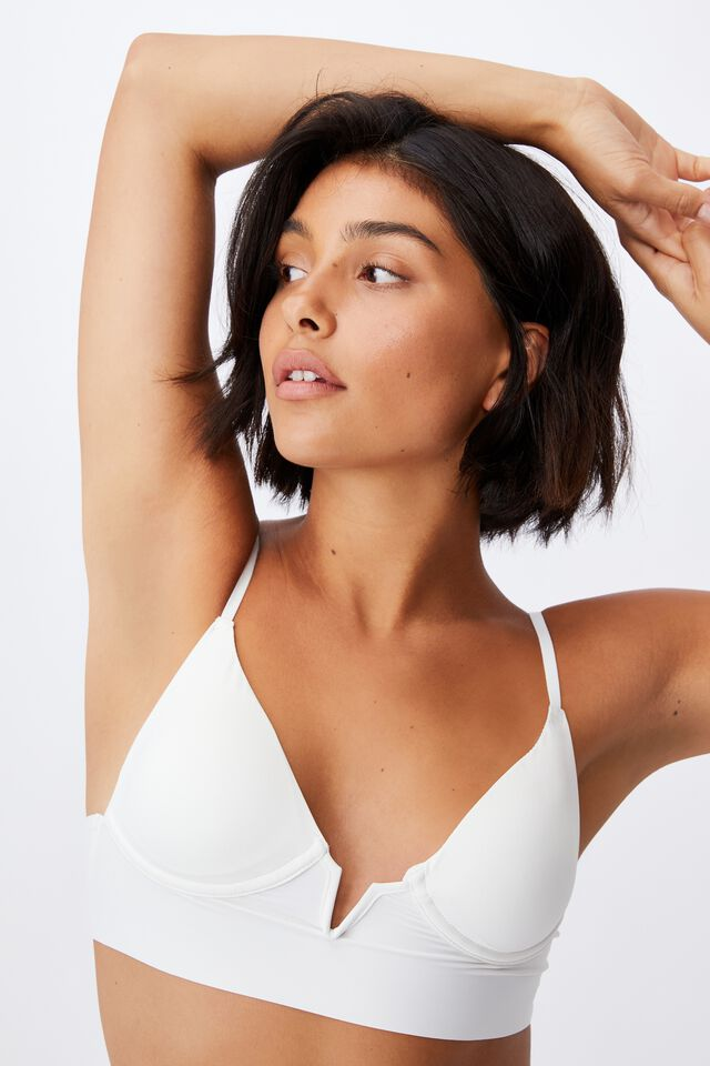 Invisible V Bralette With Cups, CREAM