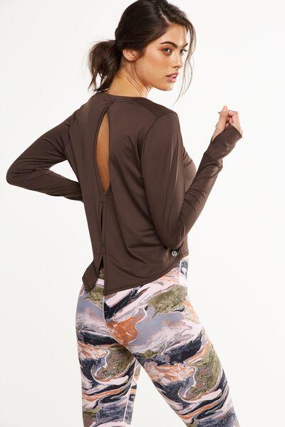 Asana Long Sleeve Top, SMOKEY BRONZE