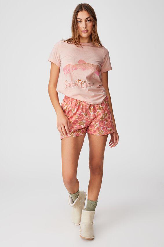 Ringer Sleep T-Shirt, SUNSET CHASER/MARSHMALLOW PINK