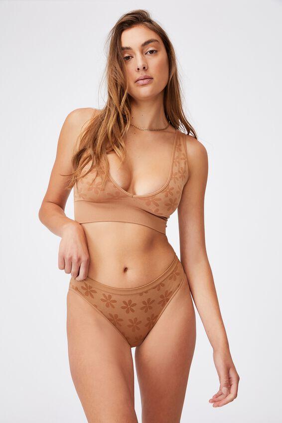 Seamfree Bikini Brief, CASHEW DAISY JACQUARD
