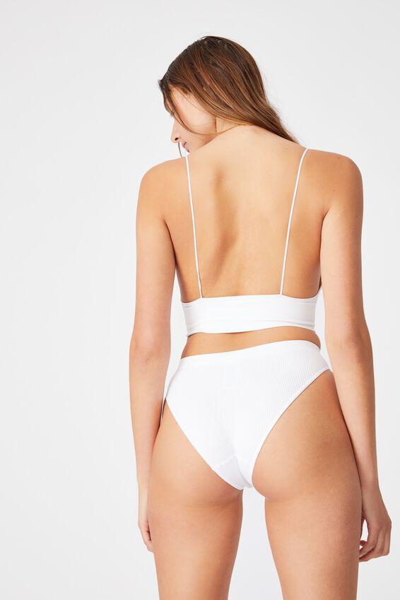 Seamfree High Cut Cheeky Bikini Brief, WHITE