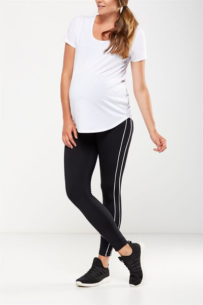 Maternity Warm And Fuzzy Tight, BLACK/STRIPE