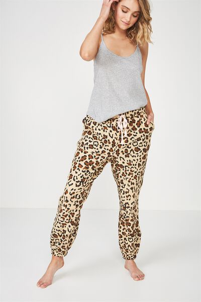 Dropped Flannel Pant, LEOPARD