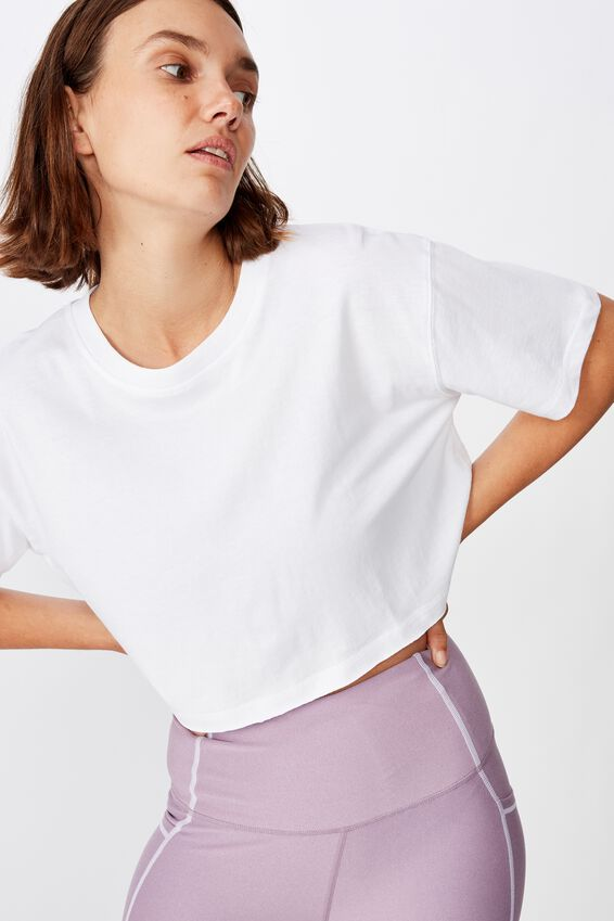 Active Cropped Tshirt, WHITE
