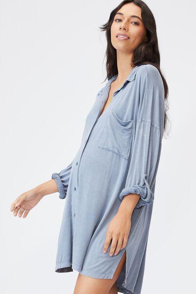Sleep Recovery Maternity Night Shirt, BLUE JAY WASH