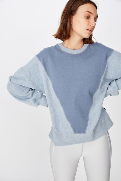 Blocked Fleece Crew Top, STORM BLUE SPLICE