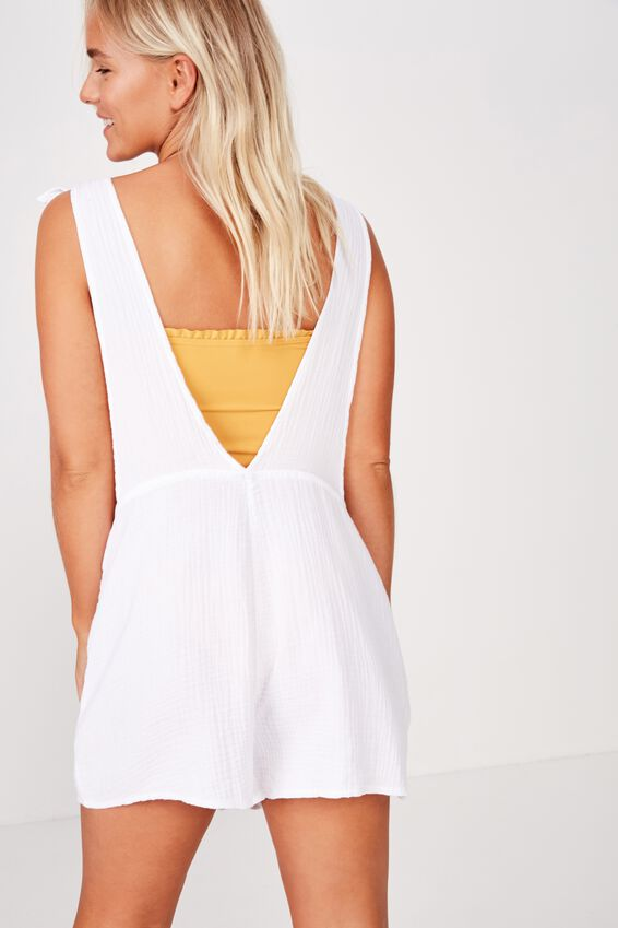 Tie Up Beach Playsuit, WHITE
