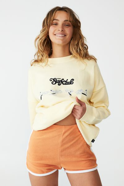 Lifestyle Long Sleeve Graphic Crew Top, SUGAR COOKIE/ BODY SURF CLUB