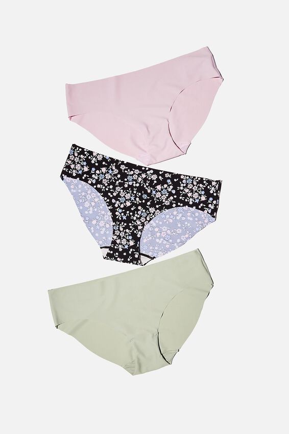 The Invisible Bikini Brief 3 Pack, MINT CHIP/ TOSS DITSY/ LILAC SNOW