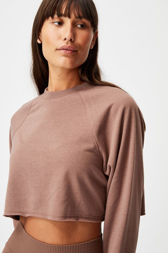 Lifestyle Crop Raglan Fleece, RAW UMBER