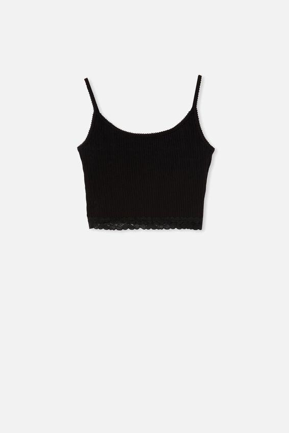 Rib Lace Sleep Cami, BLACK