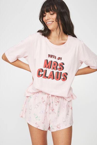 Boxy T Shirt, CRYSTAL PINK/VOTE 1 MRS CLAUS