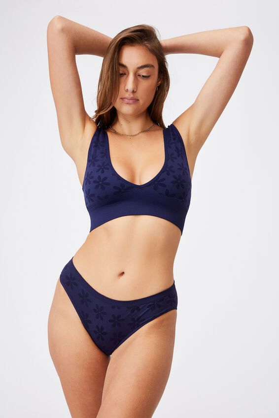 Seamfree Bikini Brief, NAVY DAISY JACQUARD