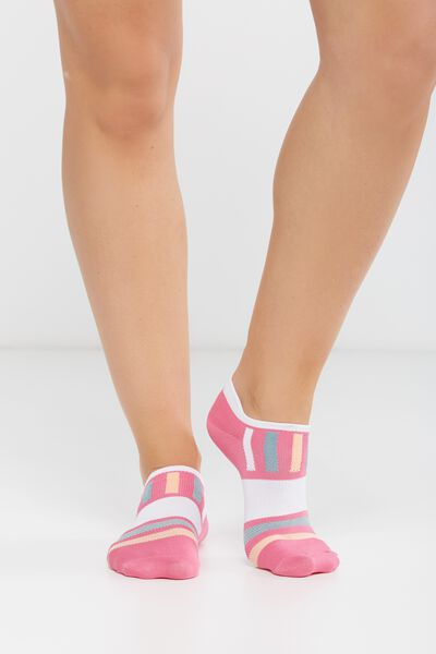Active Tab Sock, FUCHSIA/WHITE/GREEN/MANGO