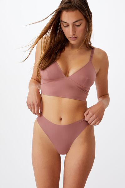 The Invisible High Cut Brasiliano Brief, DUSTY ROSE