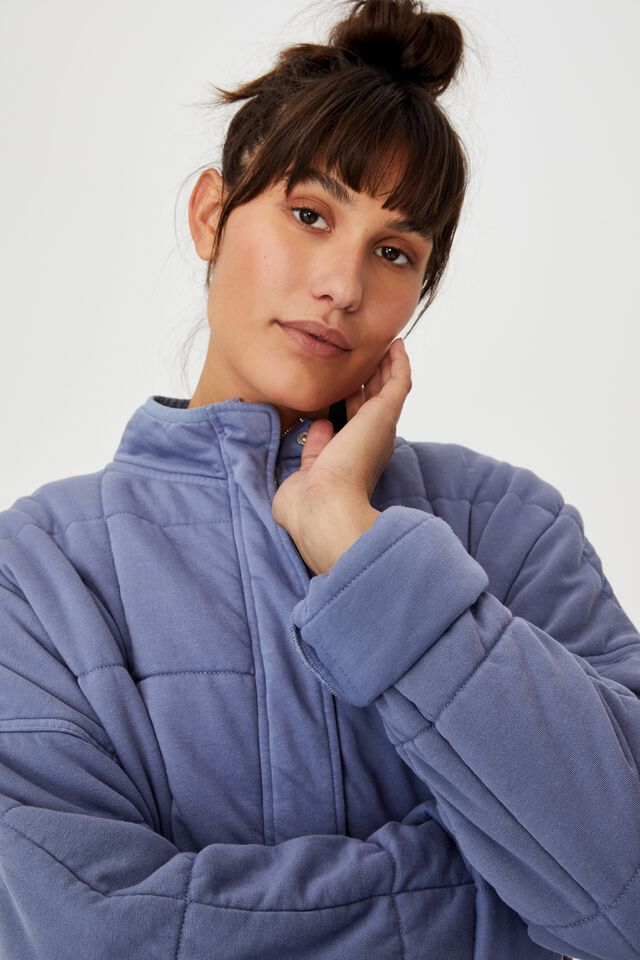 Quilted Zip Through Jacket, PERIWINKLE