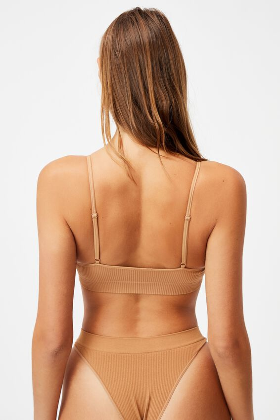 Seamfree Straight Neck Crop With Cups, CASHEW