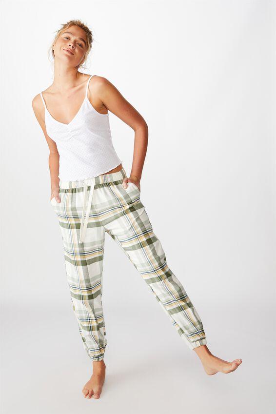 Flannel Sleep Pant, WASHED ALOE CHECK
