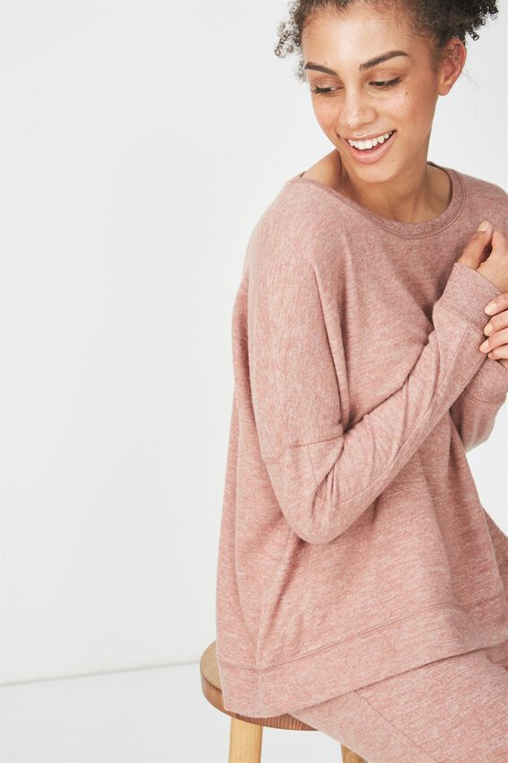 Super Soft  Lounge Top, NUTMEG MARLE