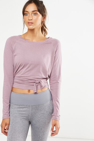 Knotted Hem Long Sleeve Top, THISTLE MAUVE