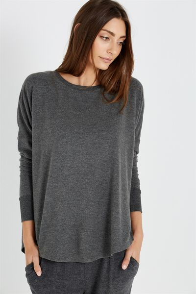 Super Soft Relaxed Top, CHARCOAL MARLE