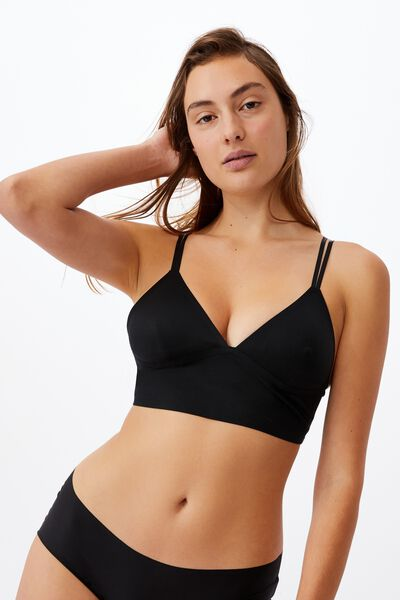Everyday Bonded Longline Bralette With Cups, BLACK