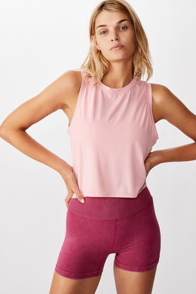 Active Ruched Muscle Tank, PEONY PINK MARLE