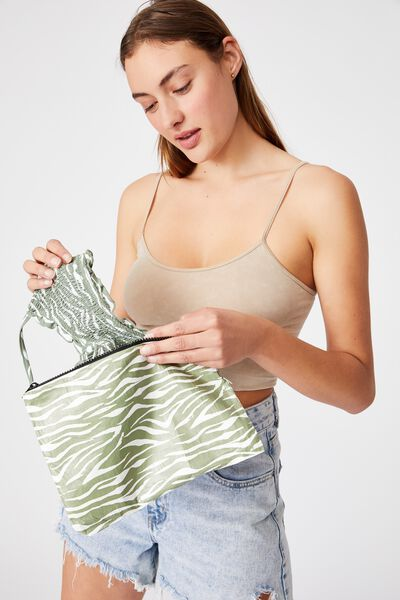 Summer Essentials Bikini Bag, KHAKI ZEBRA