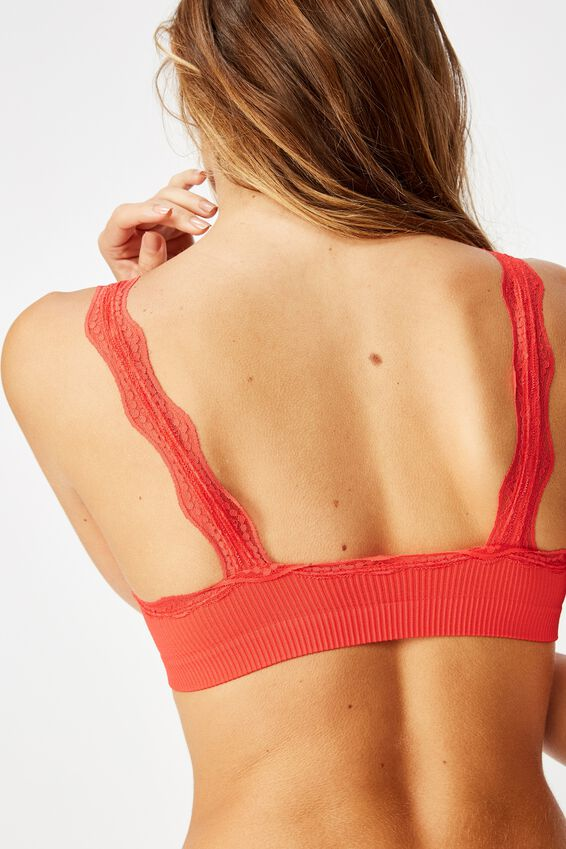 Seamfree Lace Mini Crop, SPICY RED