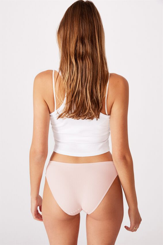 Seamfree Rib Bikini Brief, CRYSTAL PINK
