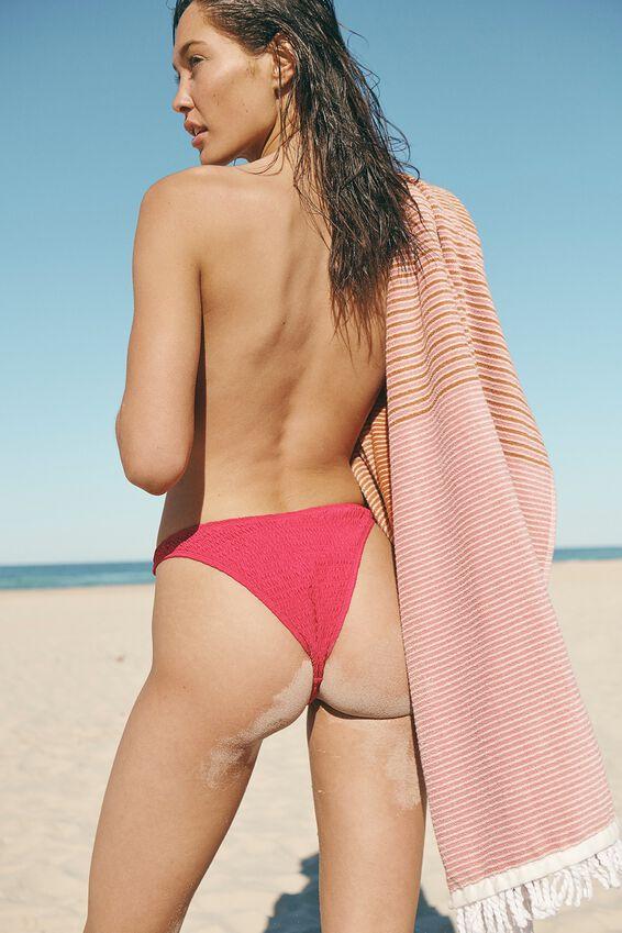 Refined High Side Brazilian Bikini Bottom, FUCHSIA PINK SHIRRED