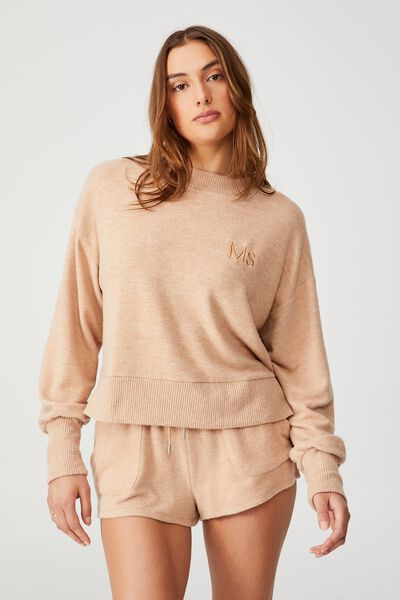 Super Soft Long Sleeve Crew Personalisation, BUTTERSCOTCH MARLE