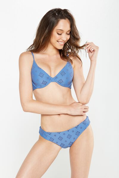 Feminine Underwire Triangle Bikini Top, STELLAR BRODERIE